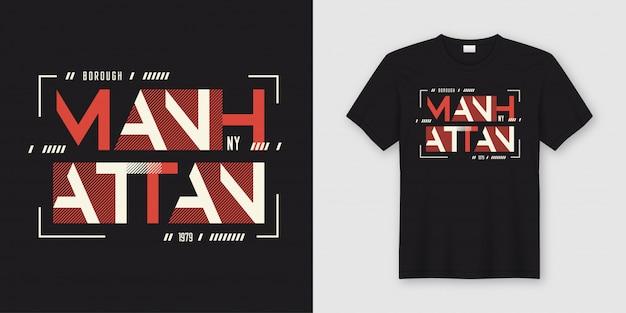 T-shirt und kleidung des geometrischen abstrakten stils manhattan manhattan