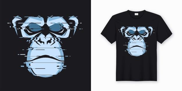 T-shirt und kleidungsdesign mit glitchy kopf eines schimpansenaffen.