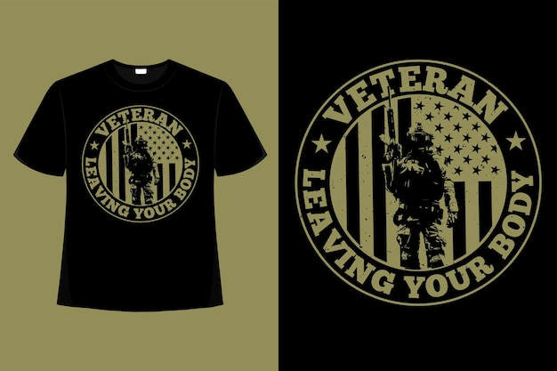 T-shirt veteran amerika flagge typografie vintage illustration