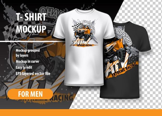 T-shirt vorlage, voll editierbar mit atv off-road