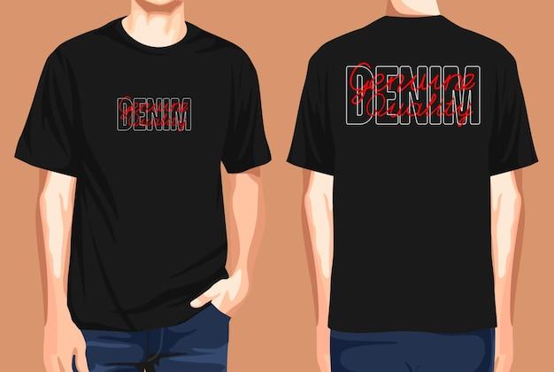 T-shirt vorne und hinten denim echte qualität