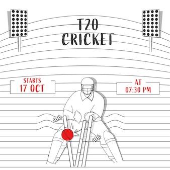 T20 cricket poster design mit strichzeichnungen wicket keeper hit ball zu stümpfen auf streifenmuster stadion hintergrund.