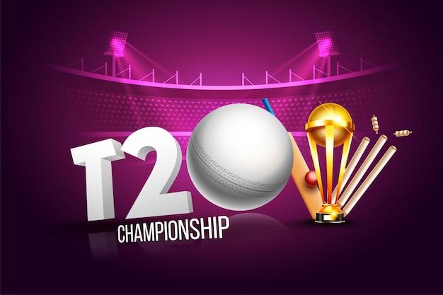 T2o cricket championship league konzept mit cricketschläger, ball, stumpf und pokalsiegertrophäe für poster oder banner auf rosa stadionhintergrund