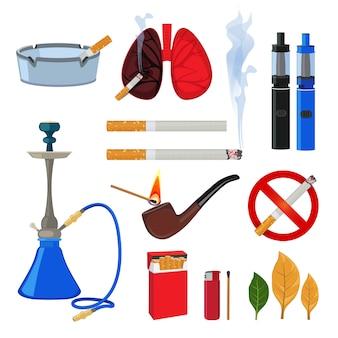 Tabak, zigarette und verschiedenes zubehör für raucher. rauchgewohnheit, feuerzeug und zubehör, viper und zigarette. vektor-illustration