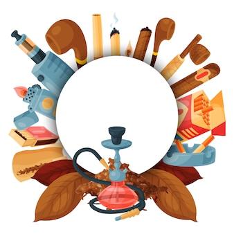 Tabak, zigarre und shisha rund. set von wasserpfeifen, zigaretten, blättern, pfeifen und streichhölzern. runde banner vorlage