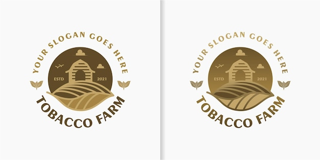 Tabakfarm, vintage-logo mit strichzeichnungen, als geschäftsreferenz