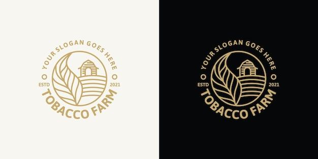 Tabakfarm, vintage-logo mit strichzeichnungen, als geschäftsreferenz Premium Vektoren