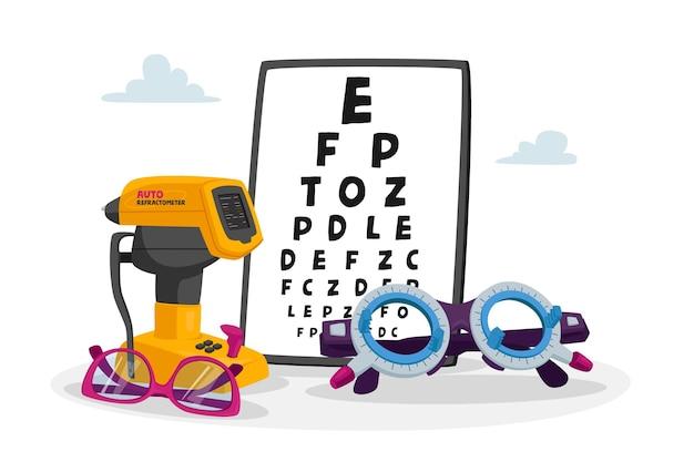 Tabelle der ophthalmologischen geräte zur überprüfung der sehkraft