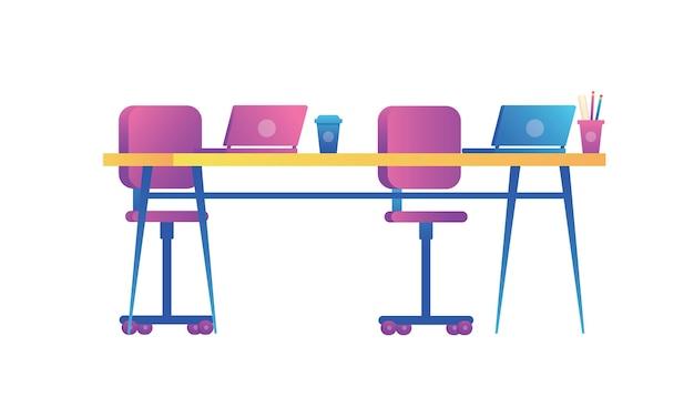Tabelle für einfaches lernkonzept. tisch und stühle für eine effektive arbeitsgestaltung.