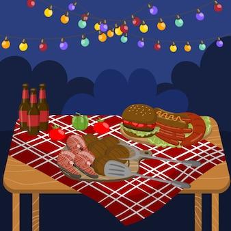 Tabelle mit gegrillten rindfleischsteaks, würstchen, lachs, burgern, nachtgrillparty mit festlichen beleuchtungslichtern illustration