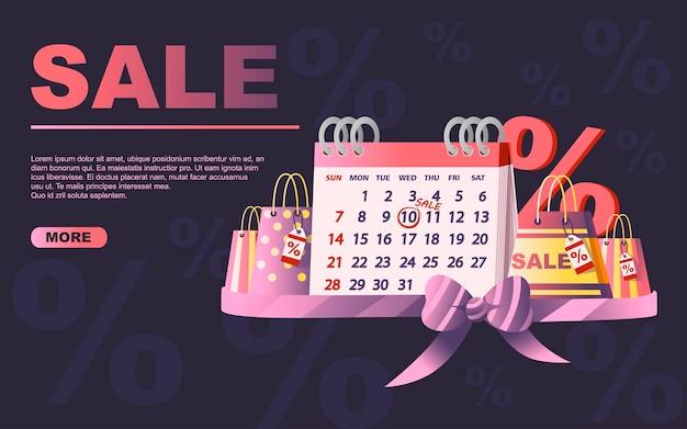 Tabellenkalender mit verkaufsdatum-einkaufstaschen und prozentualer symbolverkaufstag-flache vektorgrafik auf dunklem hintergrund-website-design.