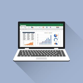 Tabellenkalkulation auf dem flachen symbol des laptopbildschirms