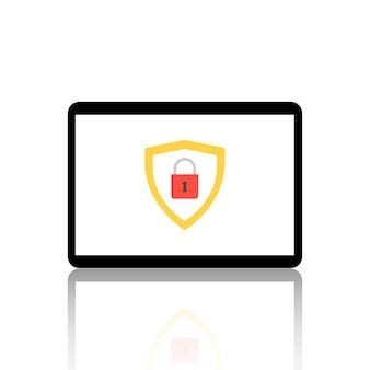 Tablet auf dem bildschirm zeigt ein sicherheitstoken