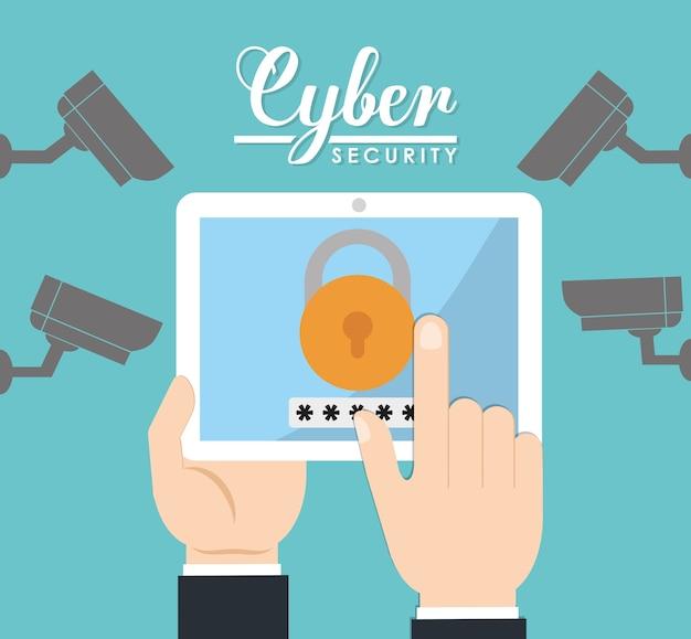 Tablet cctv vorhängeschloss cyber-sicherheitssystem technologie symbol