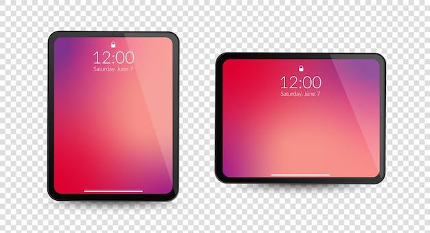 Tablet-computer-gadgets horizontale und vertikale bildschirmanzeige Premium Vektoren