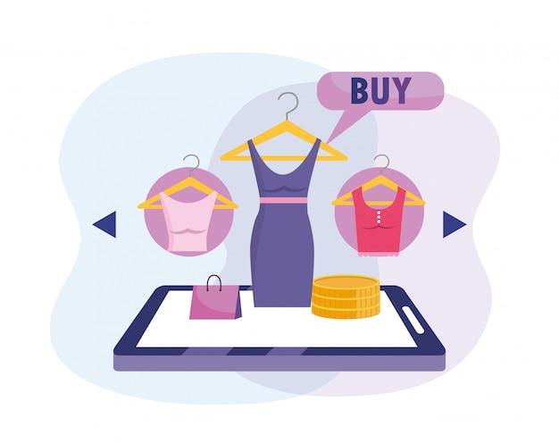 Tablet e-commerce-technologie zum online-kauf von kleidung