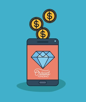 Tablet-gerät mit text-crowdfunding