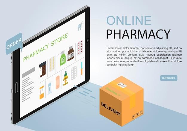 Tablet in isometrie ein online-medizinladen online-apotheke mit lieferung nach hause