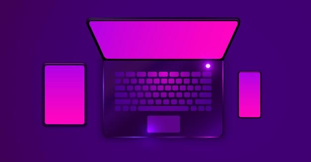 Tablet-laptop und smartphone-geräte modernes futuristisches design