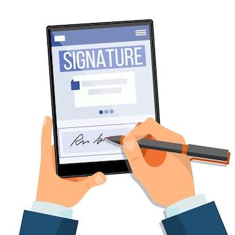 Tablet mit elektronischer signatur