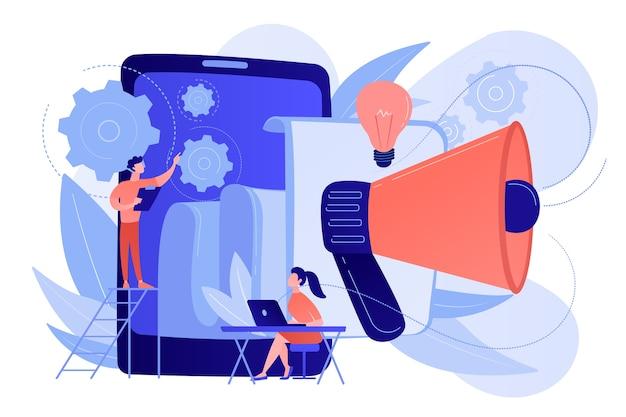 Tablet mit lautsprecher und team arbeiten an weißem papier. ico-investitionsdokument, startup-geschäftsstrategie, produktentwicklungsplankonzept. vektor isolierte illustration.