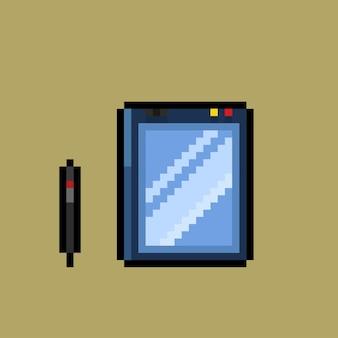 Tablet mit stift im pixel-art-stil