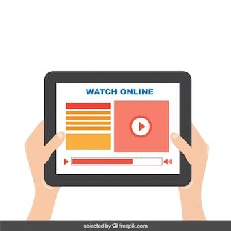 Tablet mit video-player auf dem bildschirm