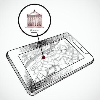 Tablet-pc des skizzenabgehobenen betrages mit navigationskarte