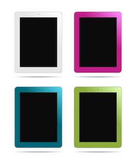 Tablet pc in verschiedenen farben: weiß, pink, blau, grün