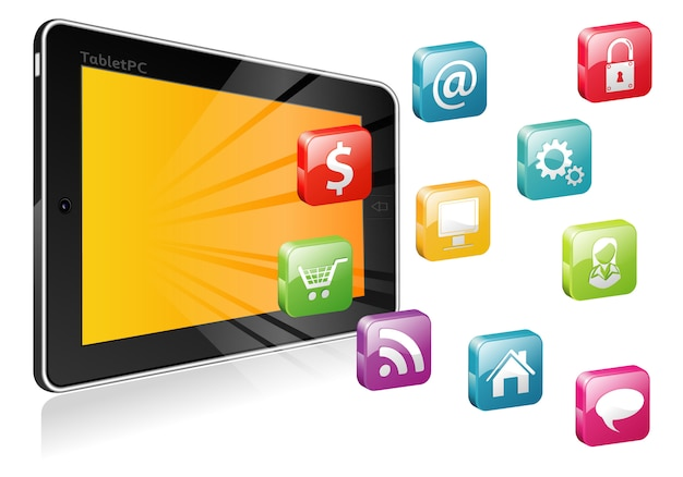 Tablet pc mit einem leeren platz für symbol