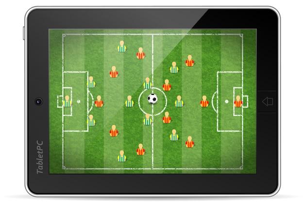 Tablet pc mit fußballspiel