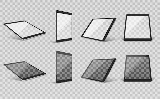 Tablet realistische transparente gruppe