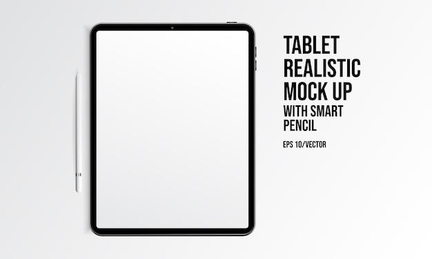 Tablet-realistischer spott oben mit intelligentem bleistift