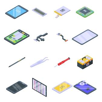 Tablet-reparatursymbole eingestellt. isometrischer satz von tablettenreparatursymbolen für web lokalisiert auf weißem hintergrund