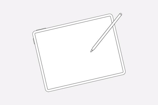Tablet-umriss, leerer bildschirm, digitale gerätevektorillustration