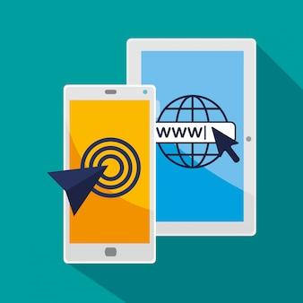 Tablet und smartphone mit pfeilzeiger-cursor