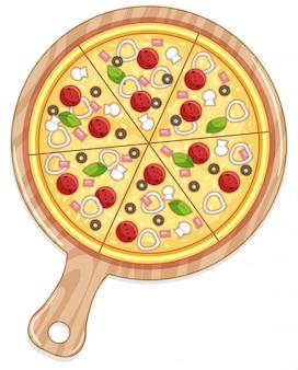 Tablett mit pizza und fleisch und gemüse