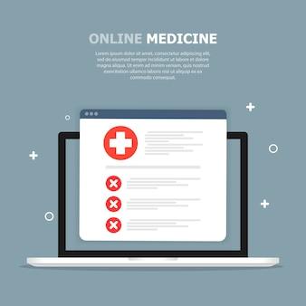 Tablette mit medizinischer karte mit roten markierungen ist auf blauer schablone dargestellt