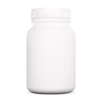 Tablettenflasche. vitamin supplement pille glas. weißer kunststoffkapselverpackungsrohling