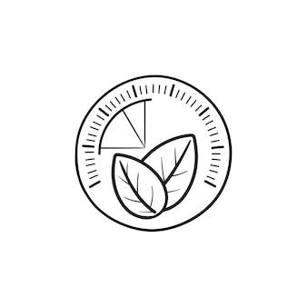 Tacho mit blatt hand gezeichneten umriss doodle symbol. grüne energie, umweltfreundliches technologiekonzept