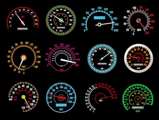 Tachometer, geschwindigkeitsanzeigen, armaturenbrett