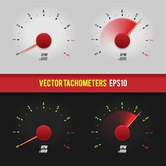 Tachometer glänzende art moderne ungewöhnliche illustration auf dunklem und hellem hintergrund.
