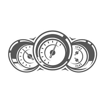 Tachometer isoliert auf weißem hintergrund