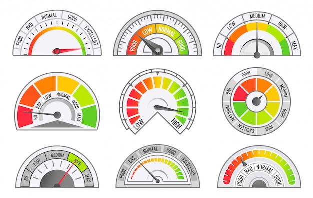 Tachometer- und kilometerzähler-skalen und zeiger