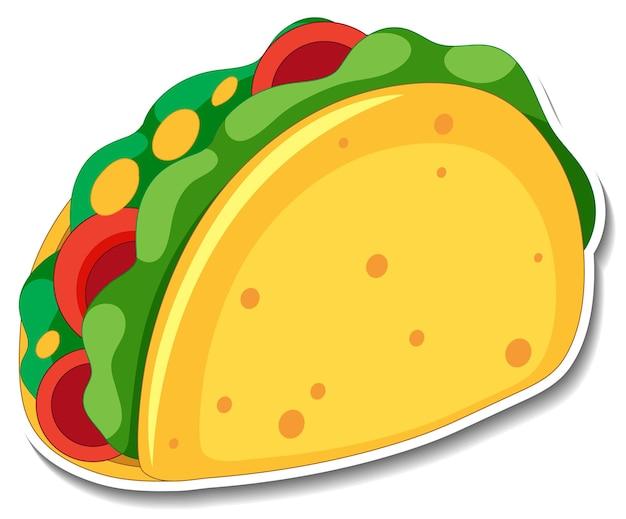 Taco-aufkleber auf weißem hintergrund