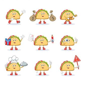 Taco cartoon maskottchen zeichensatz sammlung