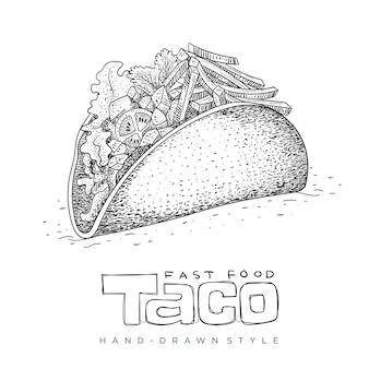Taco fast food in der hand gezeichnet