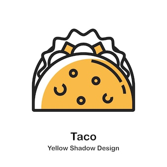 Taco-lineare farben-illustration