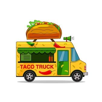 Taco-lkw. straßen-fast-food-lkw, restaurant zum mitnehmen, markt in der straße isolierte vektorillustration im flachen stil.