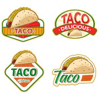 Taco-logo-lager vektor gesetzt